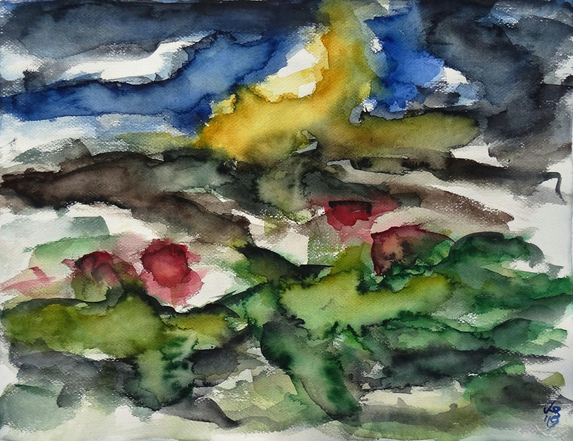 Nordhessen 01, Watercolour 65 x 50 cm, © 2019 by Klaus Bölling