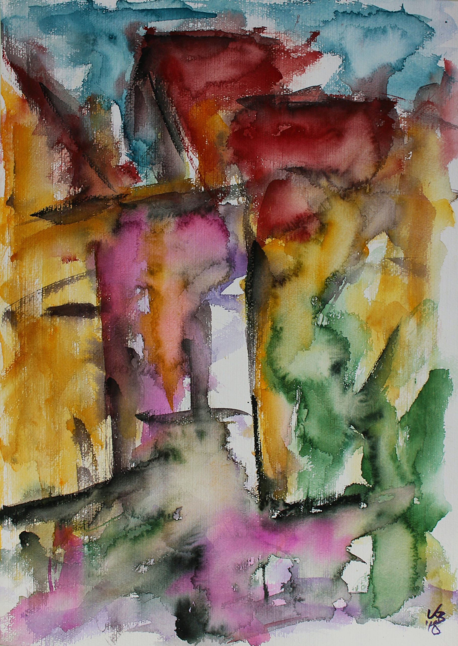 changing places I, Homberg, Webergasse, Watercolour 50 x 70 cm, © 2018 by Klaus Bölling