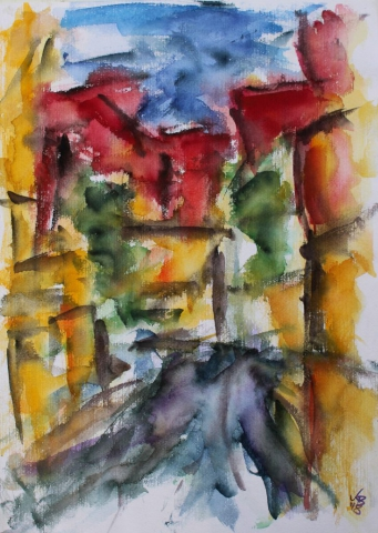 changing places III, Homberg, Pfarrstraße, Watercolour 50 x 70 cm, © 2018 by Klaus Bölling