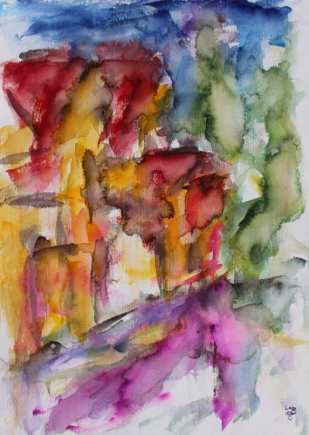 changing places IV, Homberg, Kirchgasse, Watercolour 50 x 70 cm, © 2018 by Klaus Bölling