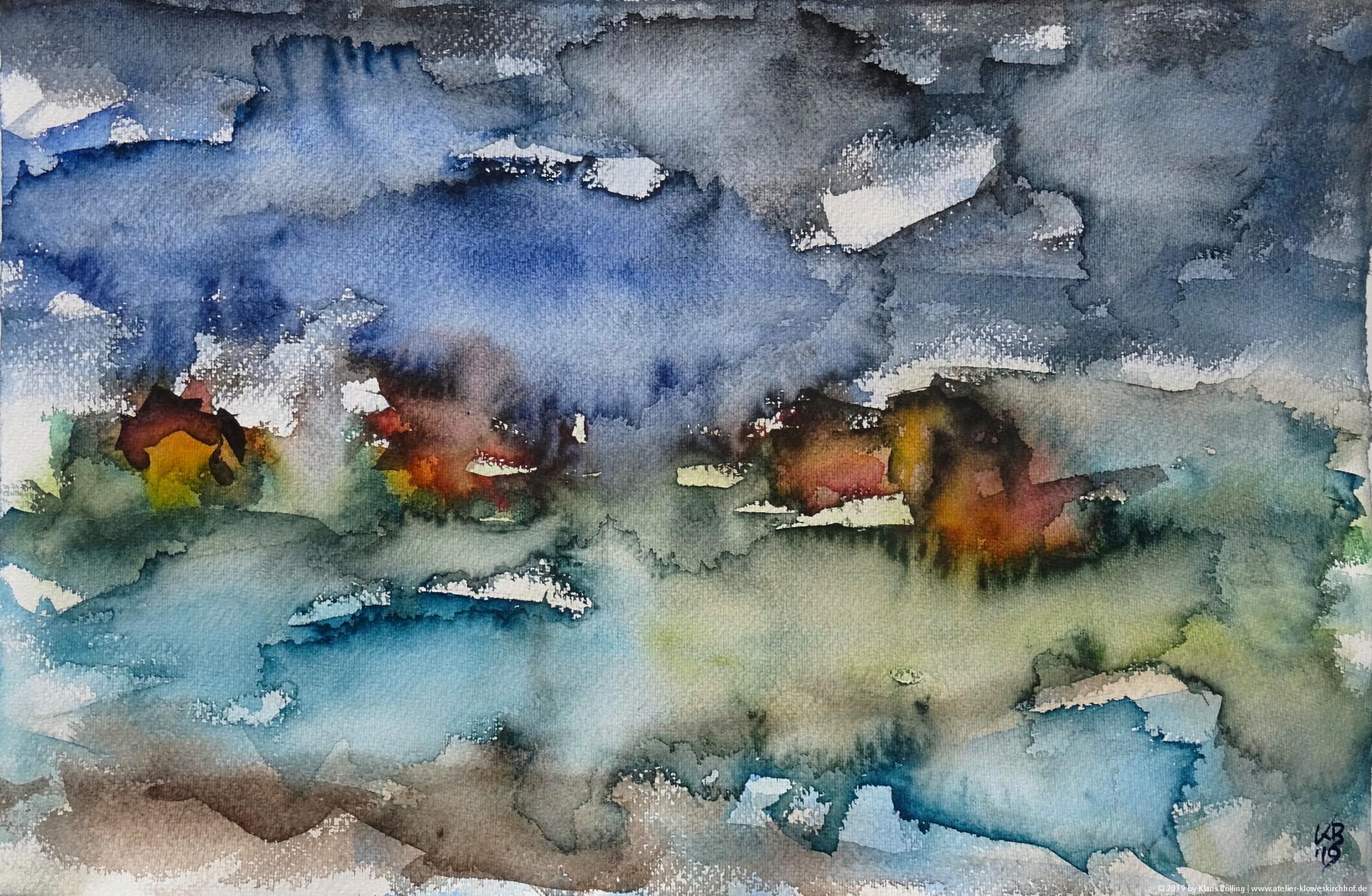 Port nan Long, North Uist, Watercolour 50 x 32,5 cm, © 2019 by Klaus Bölling