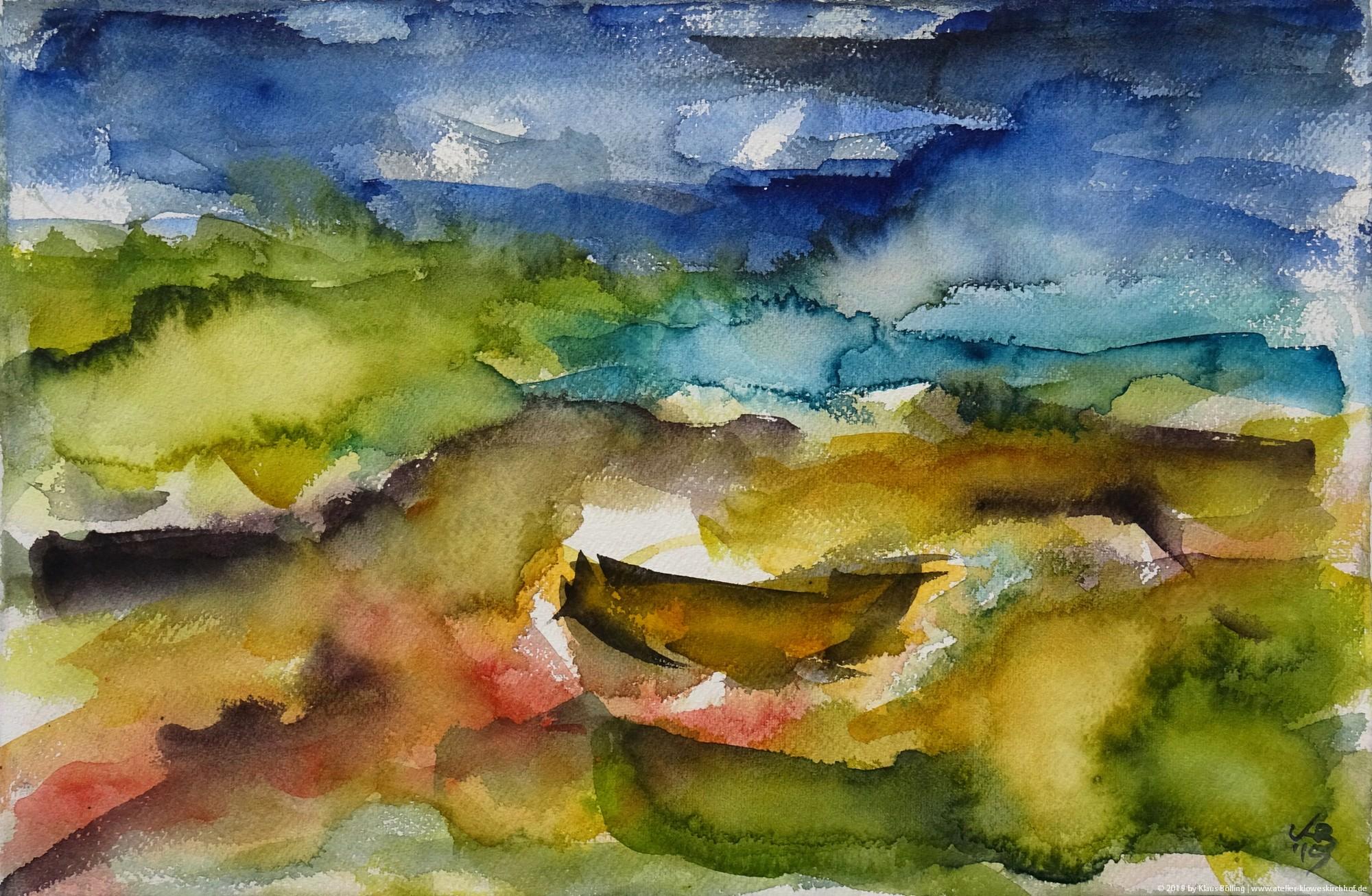 Earsairidh, Barra, Watercolour 50 x 32,5 cm, © 2019 by Klaus Bölling