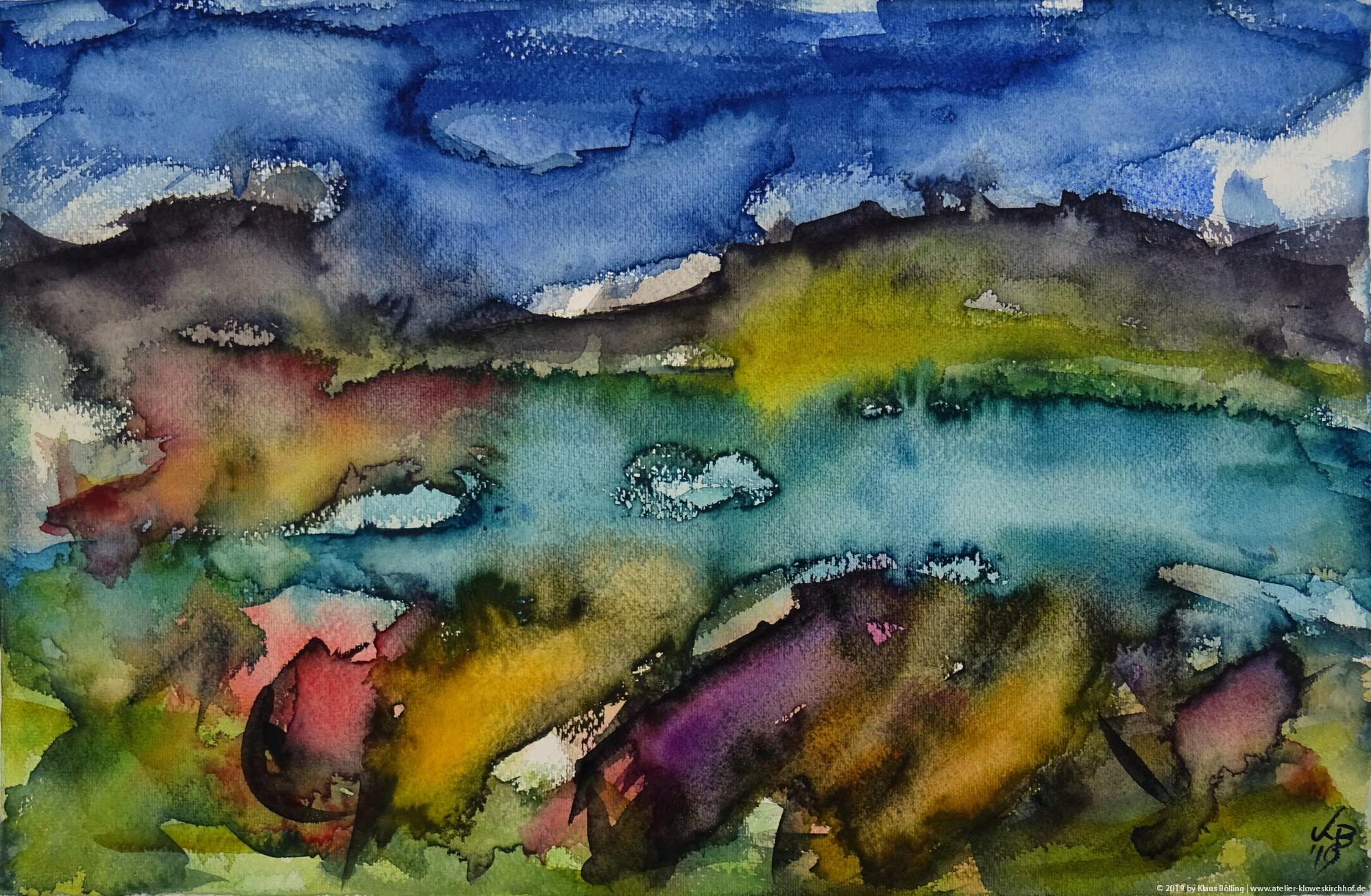 Badentarbet Bay, Coigach, Watercolour 50 x 32,5 cm, © 2019 by Klaus Bölling