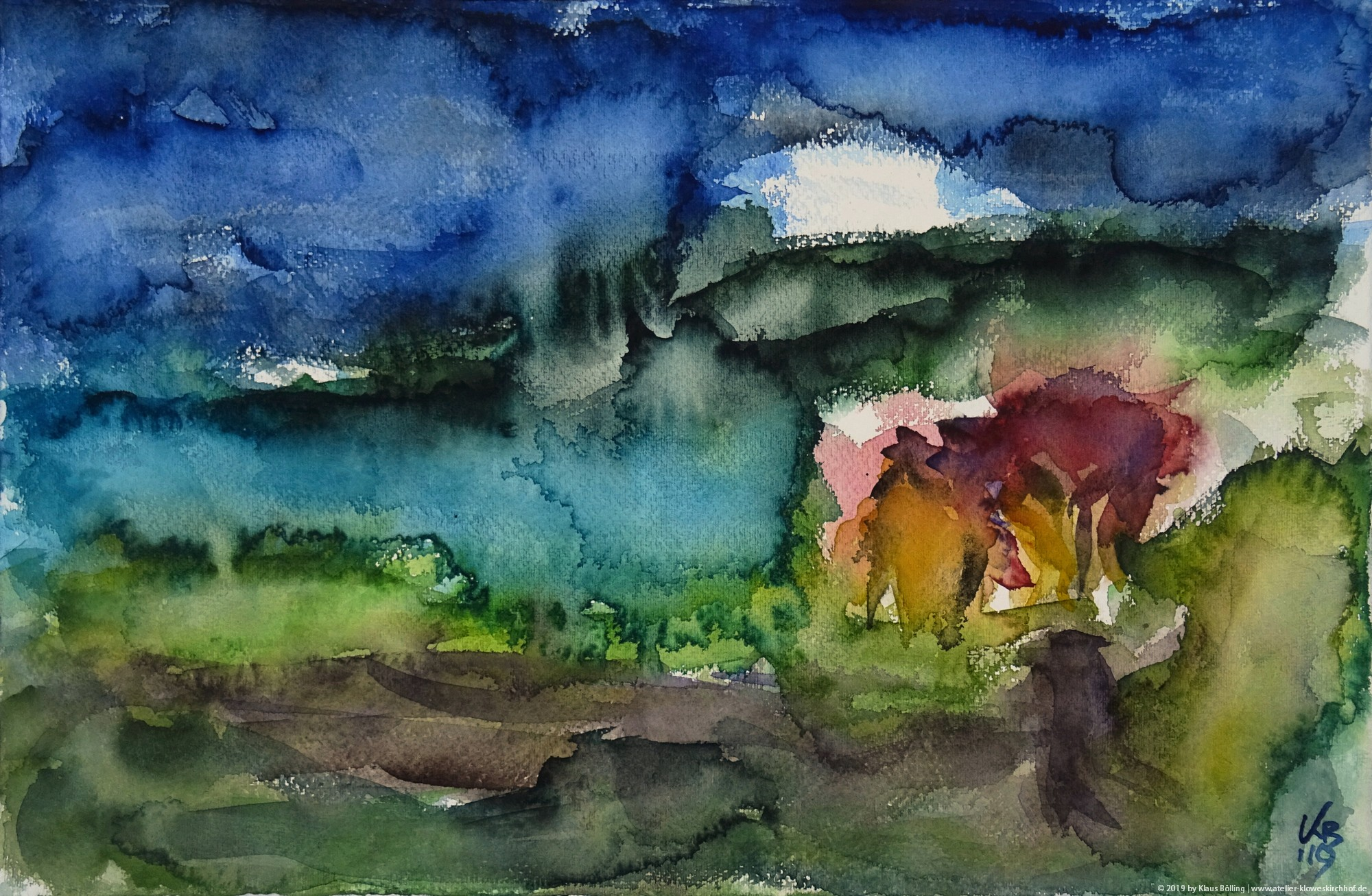 Balnakeil, Durness, Watercolour 50 x 32,5 cm, © 2019 by Klaus Bölling