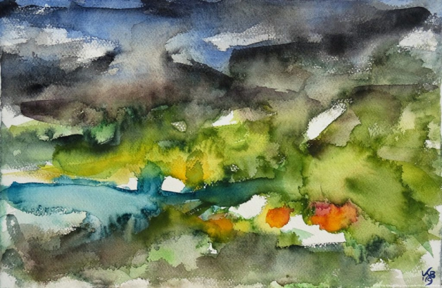 North West Highlands, Elphin, Watercolour 50 x 32,5 cm, © 2019 by Klaus Bölling