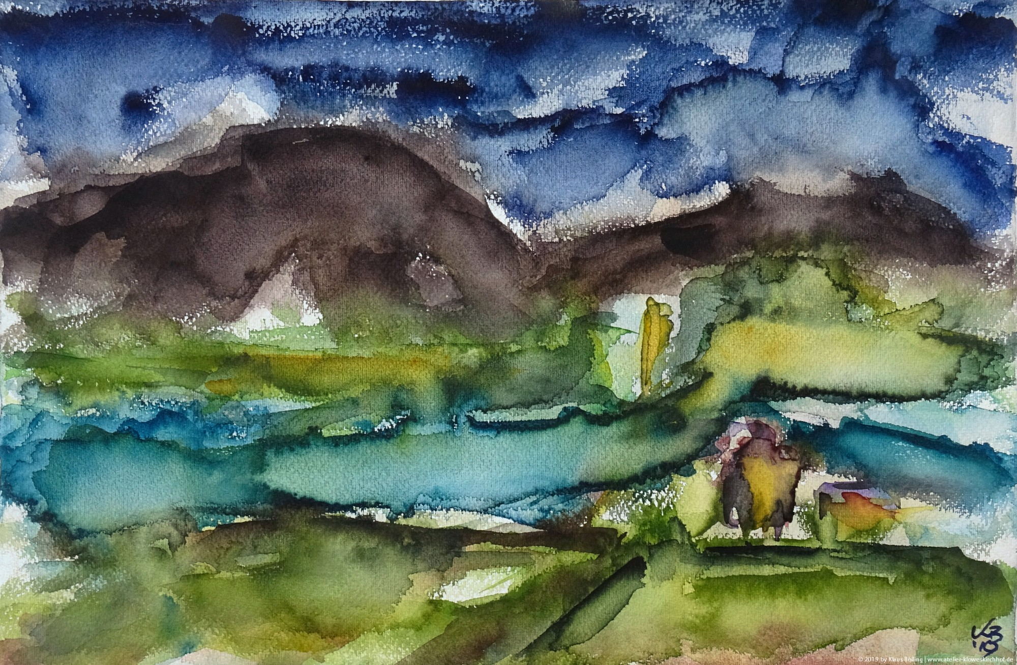 Orkney, Sound of Hoy (Graemsay, Hoy), Watercolour 50 x 32,5 cm, © 2019 by Klaus Bölling