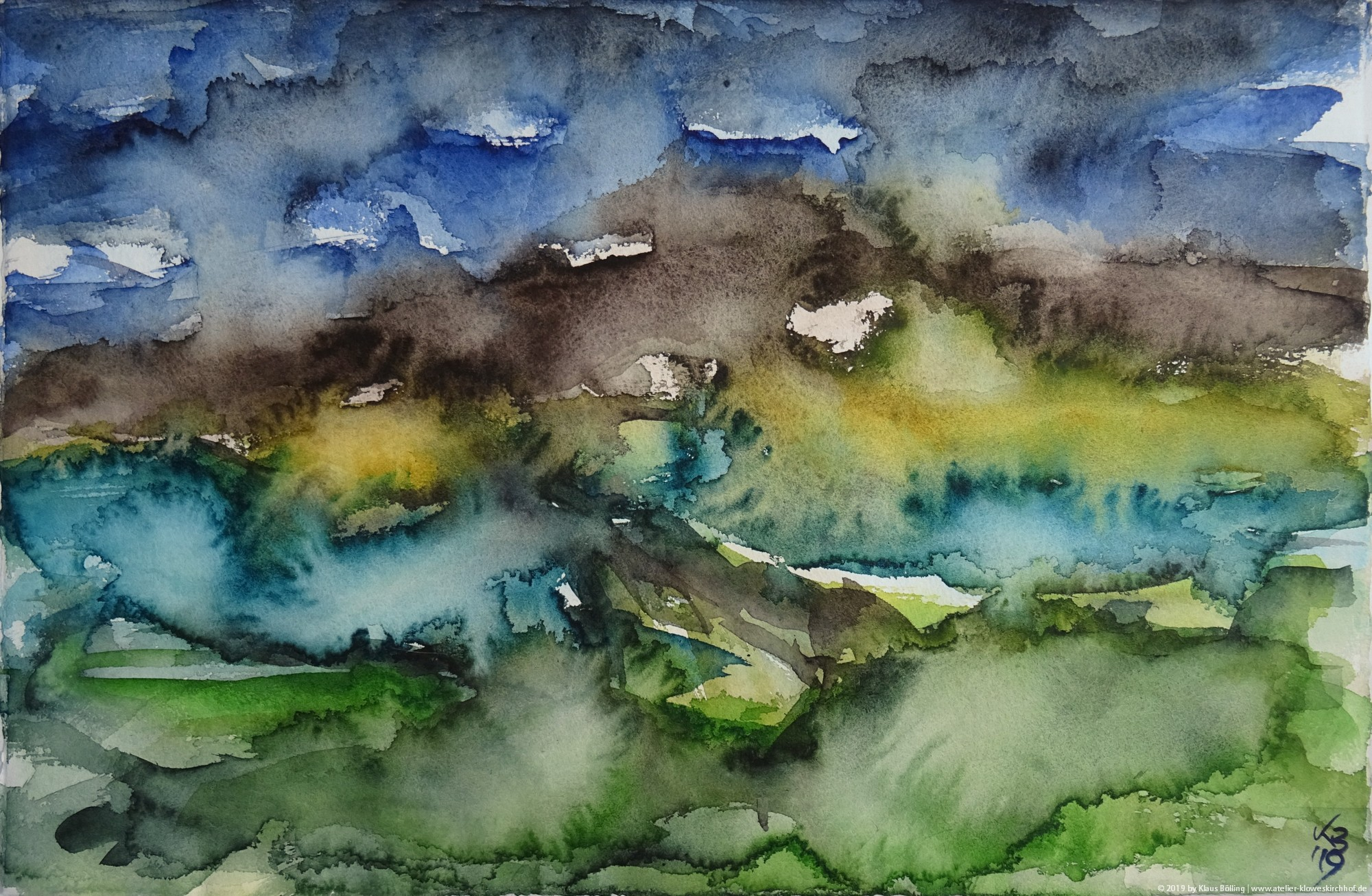Orkney, Ness of Brodgar, Watercolour 50 x 32,5 cm, © 2019 by Klaus Bölling