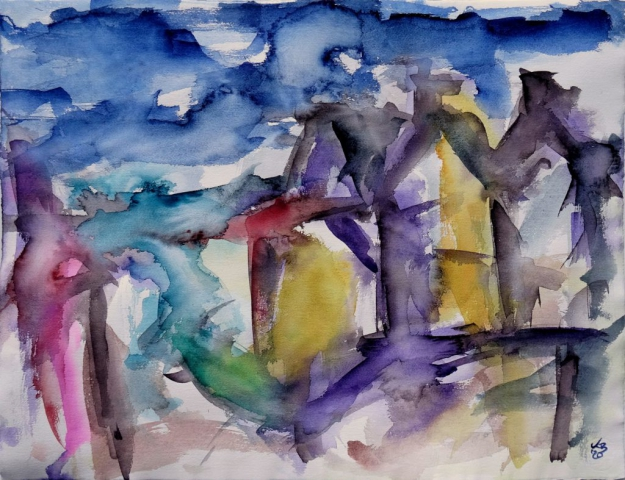 Stromness, South End, Watercolour 65 x 50 cm, © 2020 by Klaus Bölling