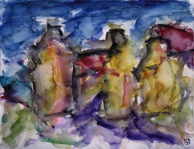 Stromness, Albert Street, Watercolour 65 x 50 cm, © 2020 by Klaus Bölling