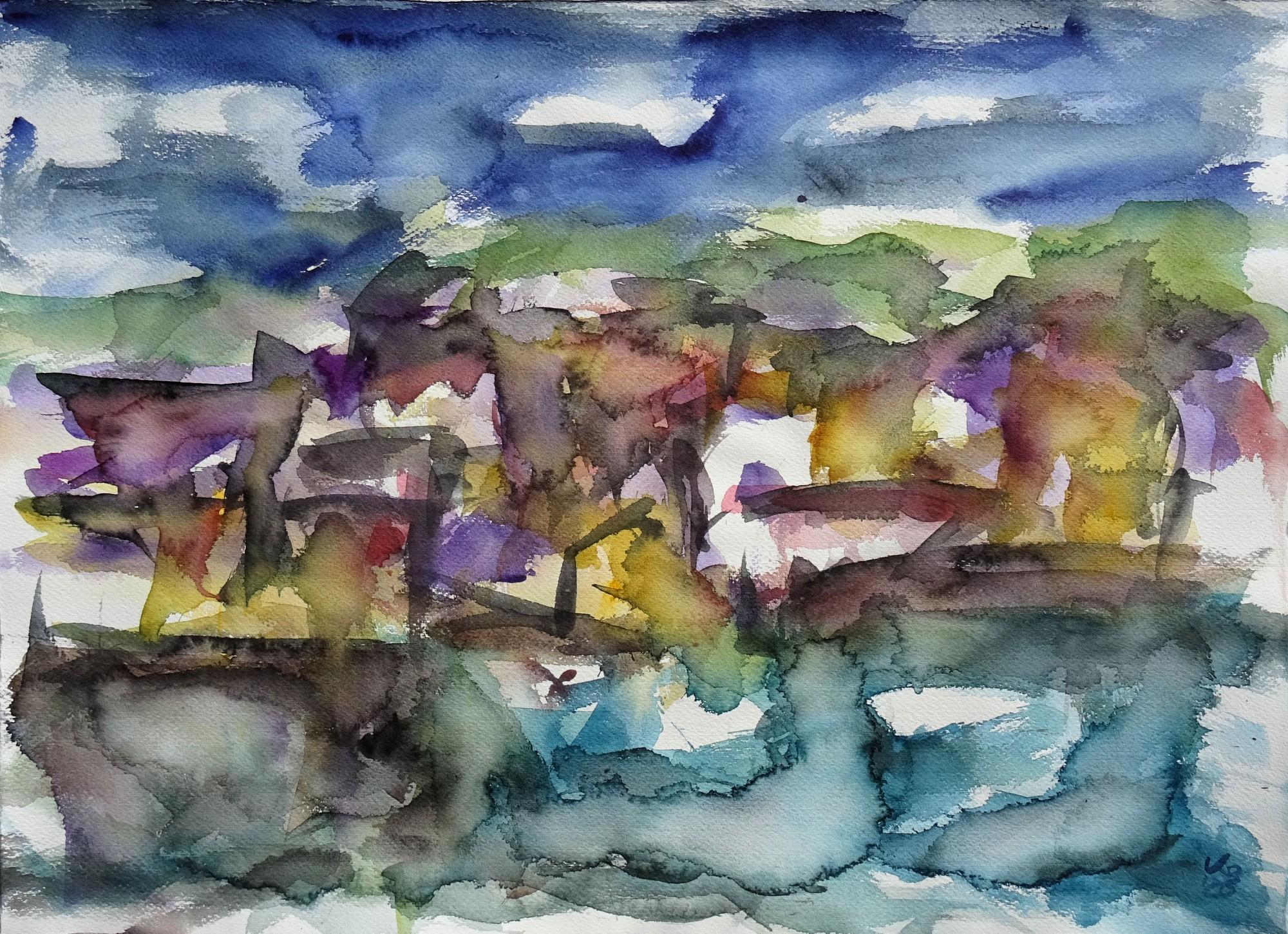 Orkney, Stromness, Watercolour 71 x 51,5 cm, © 2020 by Klaus Bölling