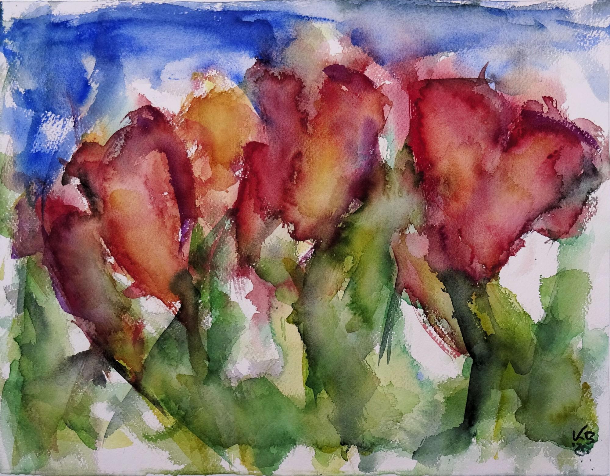Tulpen, Watercolour 50 x 39 cm, © 2020 by Klaus Bölling