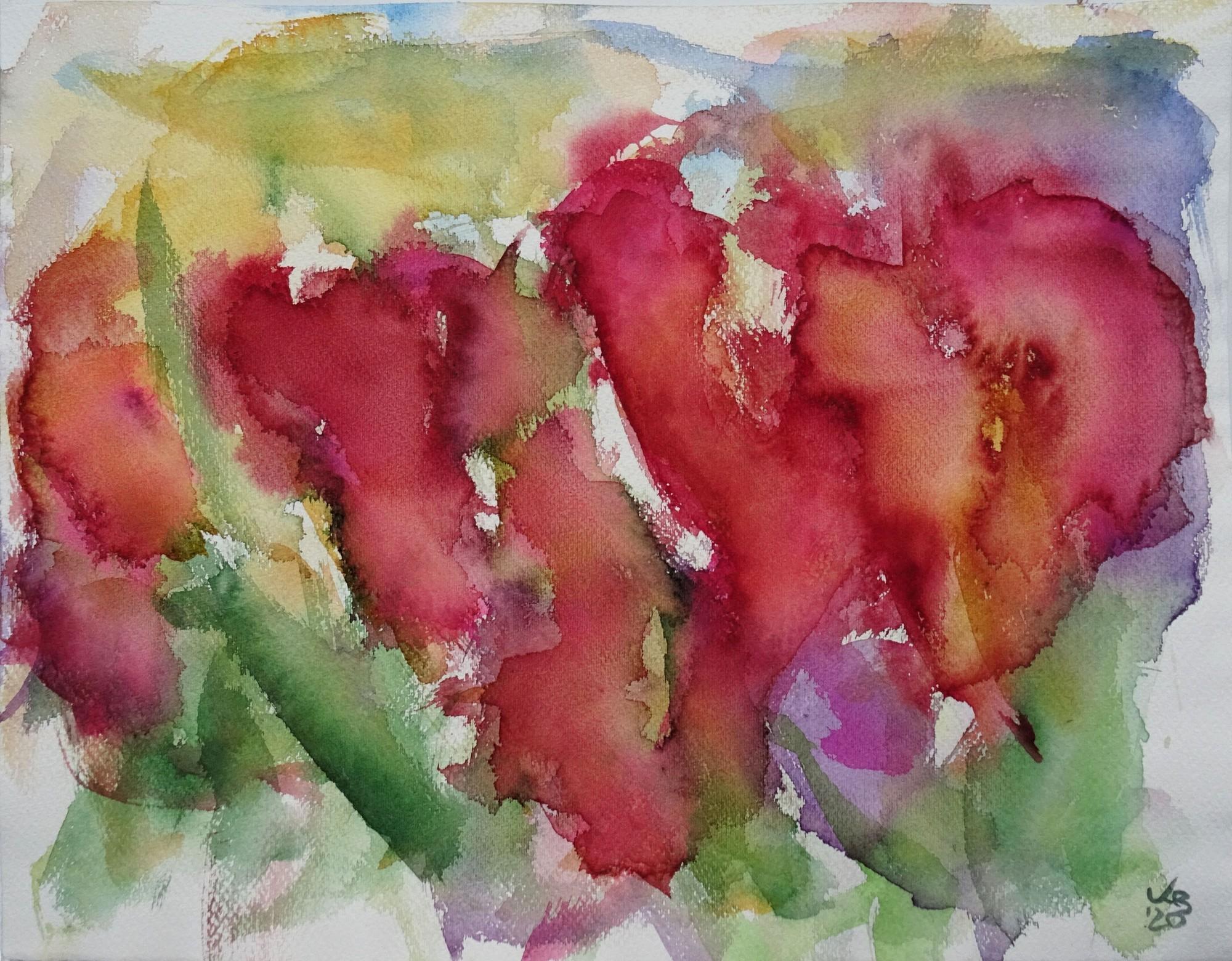 Tulpen II, Watercolour 50 x 39 cm, © 2020 by Klaus Bölling