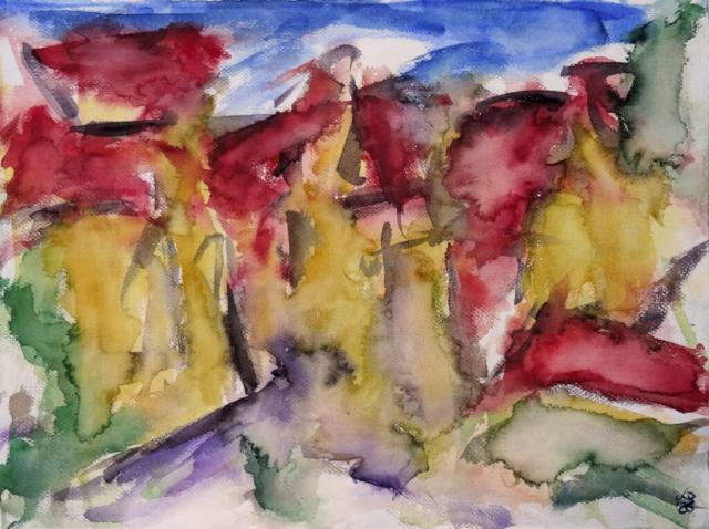 Homberg, Marktplatz 2, Watercolour 71 x 53 cm, © 2020 by Klaus Bölling