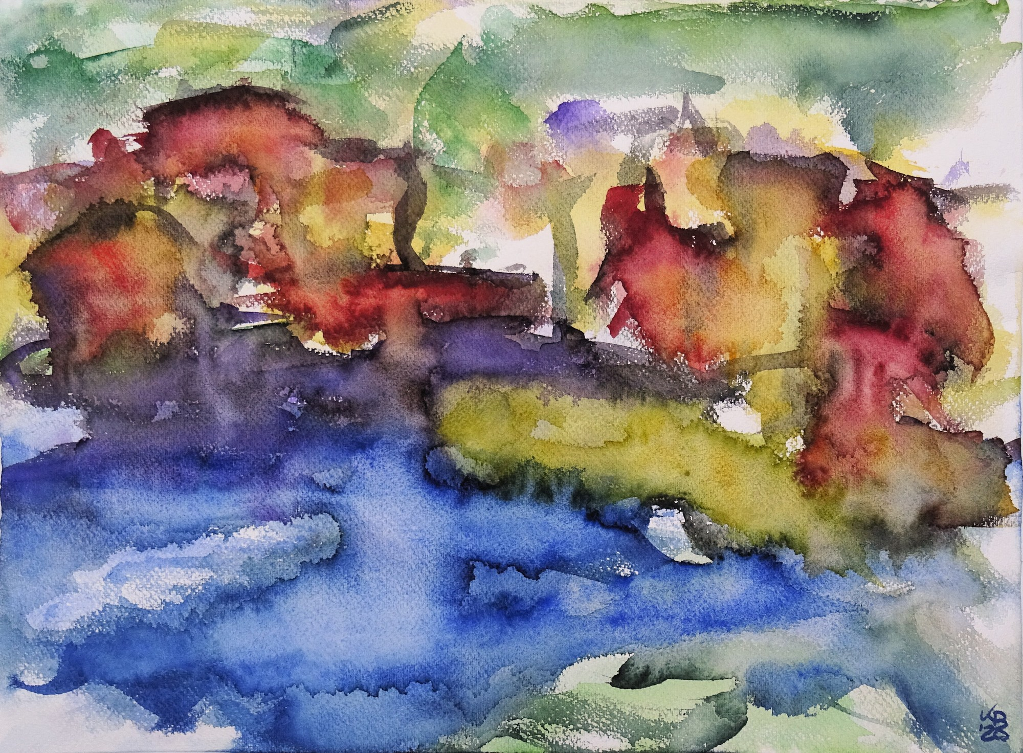 Port Isaac I, Watercolour 53 x 39 cm, © 2020 by Klaus Bölling