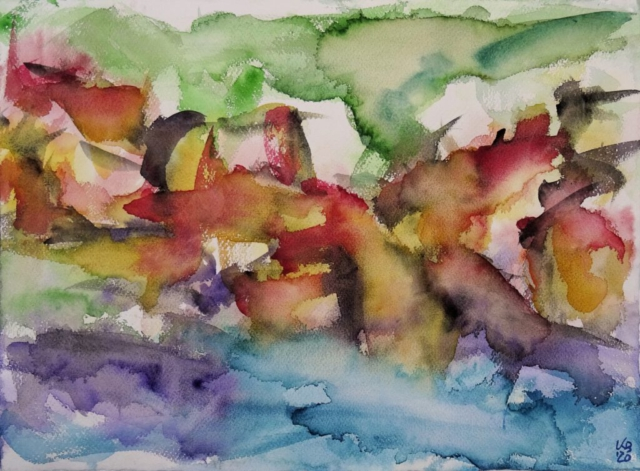 Port Isaac III, Watercolour 53 x 39 cm, © 2020 by Klaus Bölling