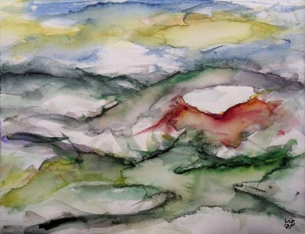 Nordhessen, Landschaft 3, Watercolour 65 x 50 cm, © 2021 by Klaus Bölling