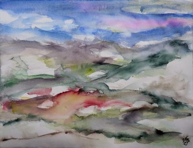 Nordhessen, Landschaft 4, Watercolour 65 x 50 cm, © 2021 by Klaus Bölling