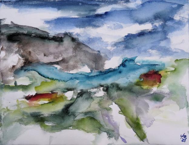 Rackwick Bay, Hoy, Orkney, Watercolour 65 x 50 cm, © 2021 by Klaus Bölling