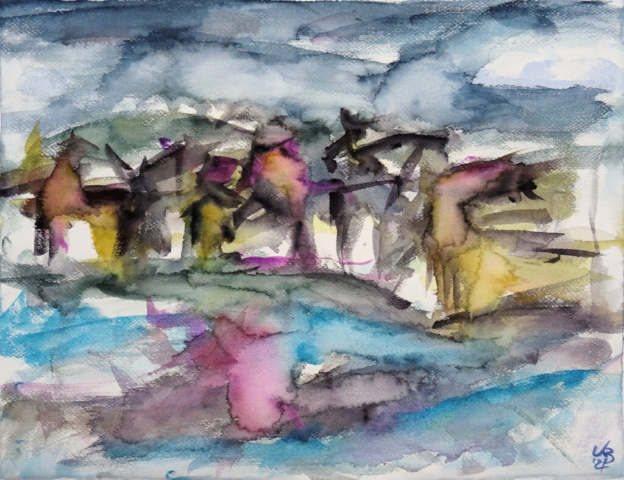 St Margaret's Hope, Orkney, Watercolour 65 x 50 cm, © 2021 by Klaus Bölling