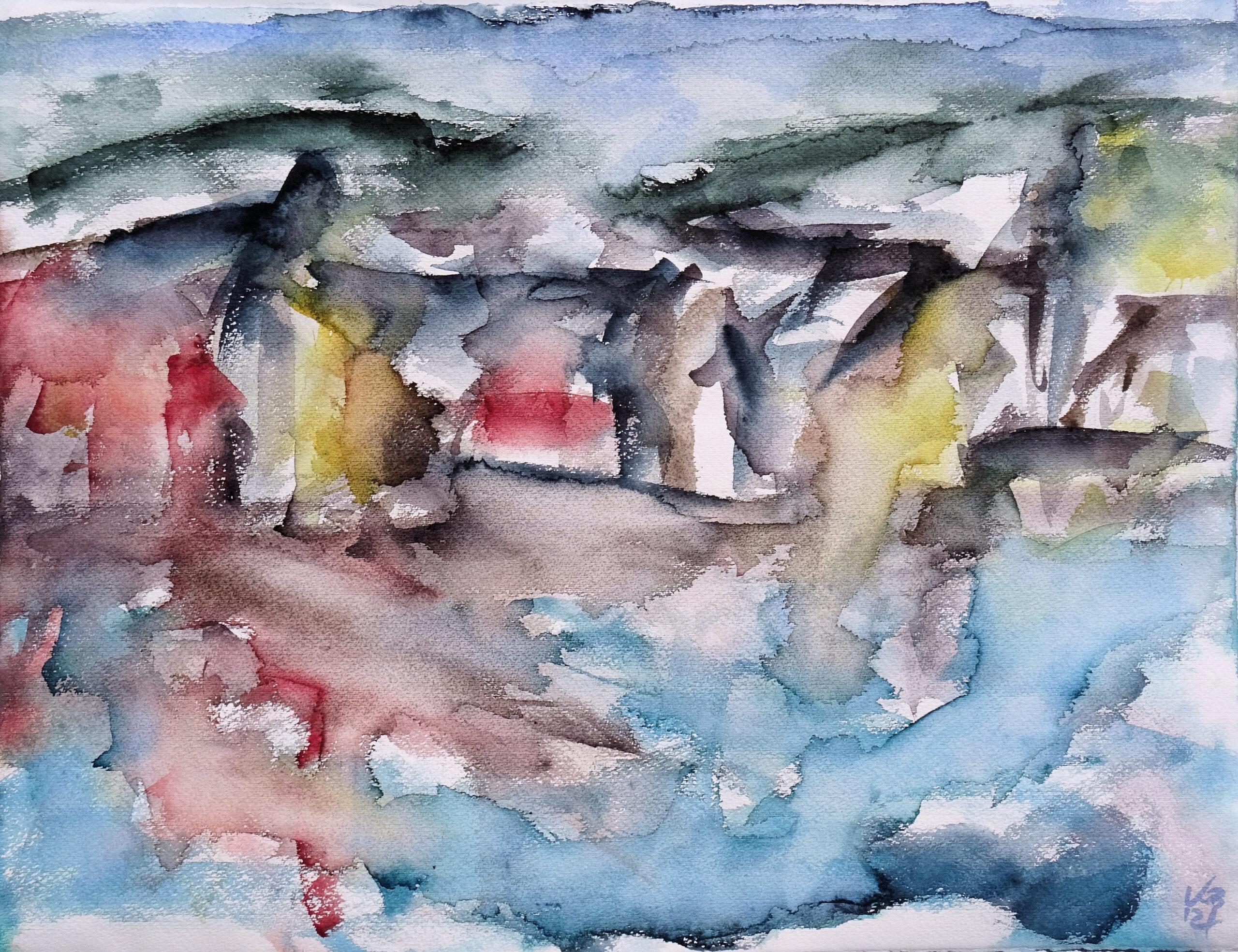 Hamnavoe I, Watercolour 65 x 50 cm, © 2021 by Klaus Bölling