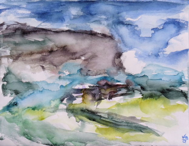 Rackwick Bay, Hoy, Orkney #2, Watercolour 65 x 50 cm, © 2021 by Klaus Bölling