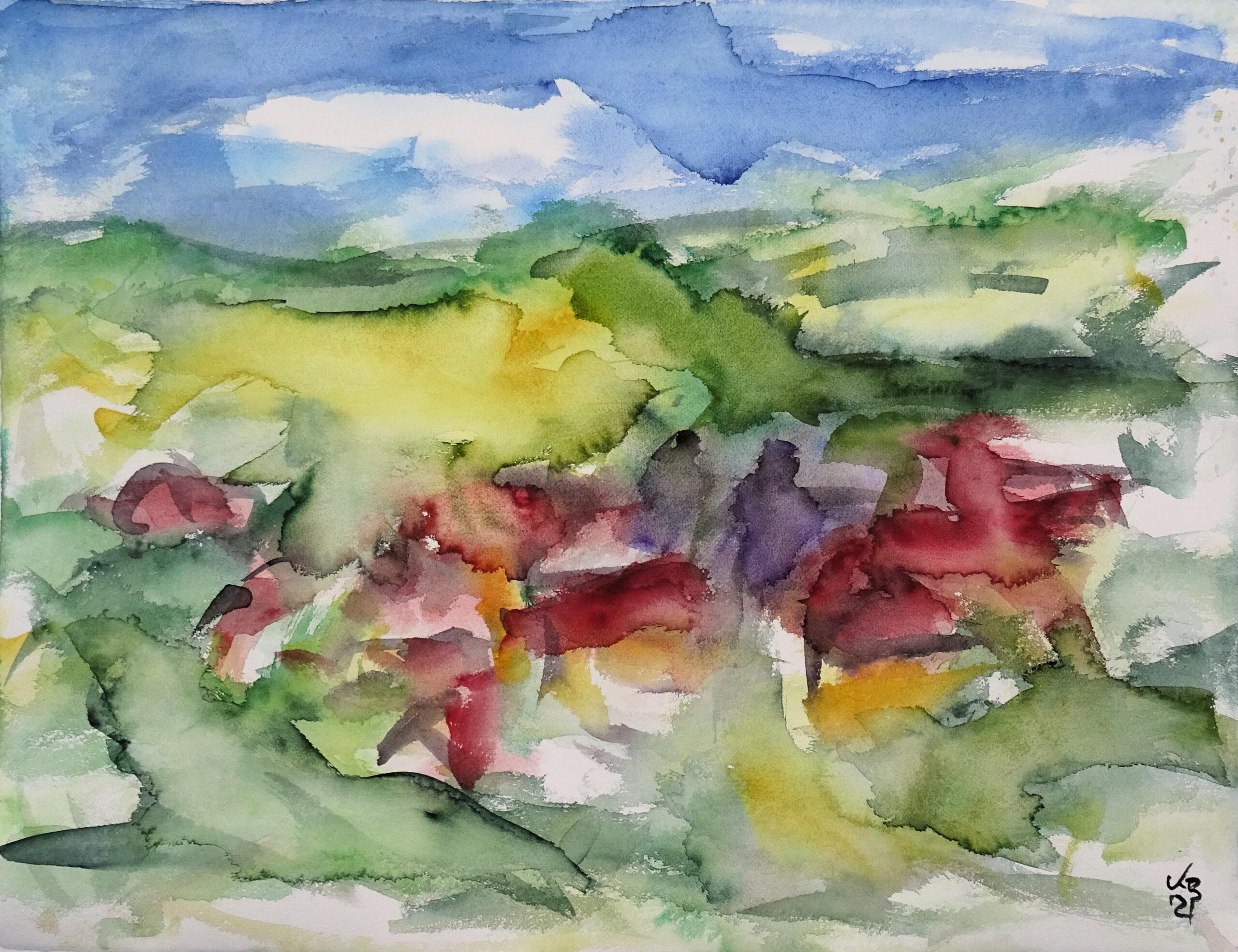 Blick auf Berge, Watercolour 65 x 50 cm, © 2021 by Klaus Bölling