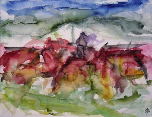 Allmuthshausen, Watercolour 65 x 50 cm, © 2021 by Klaus Bölling