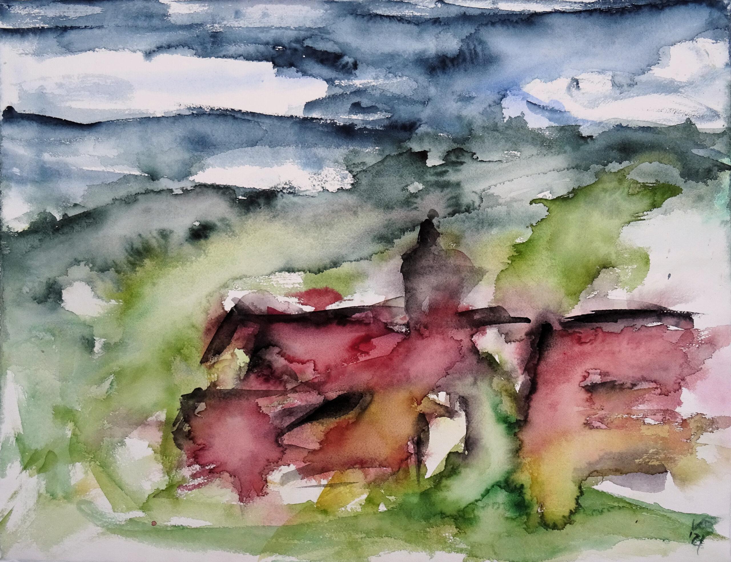 Blick auf Wernswig, Watercolour 65 x 50 cm, © 2021 by Klaus Bölling