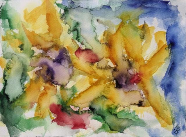 Sonnenblumen II, Watercolour 53 x 39 cm, © 2021 by Klaus Bölling