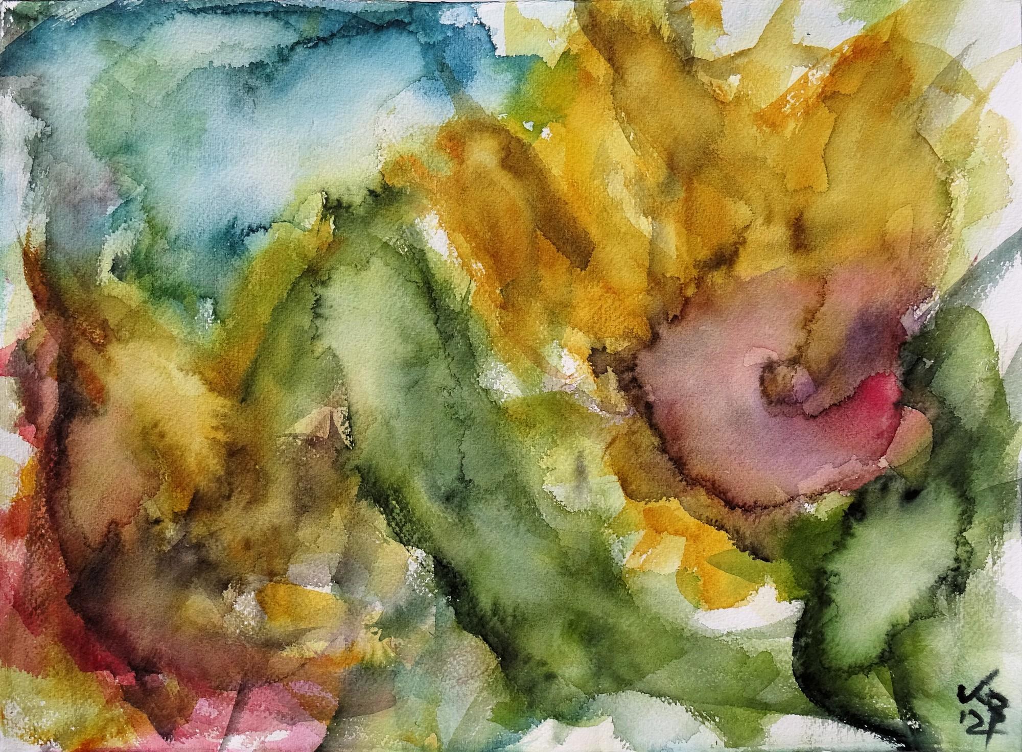 Sonnenblumen III, Watercolour 53 x 39 cm, © 2021 by Klaus Bölling